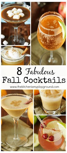 8 Fabulous Fall Cocktails ~ featuring Fall flavors like pumpkin, cranberry, & hot chocolate, they're sure to be great additions to your Fall {or anytime} sipping!  www.thekitchenismyplayground.com #falldrinks