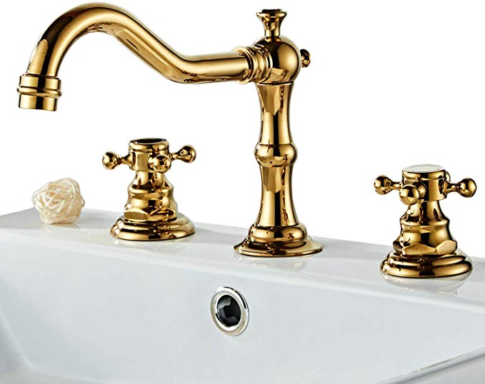 Rkf Solid Brass Two Handle Widespread Bathroom Sink Faucet With Metal Pop Up Drain With Overflow And Cupc Supp Sink Faucets Bathroom Sink Faucets Bathroom Sink