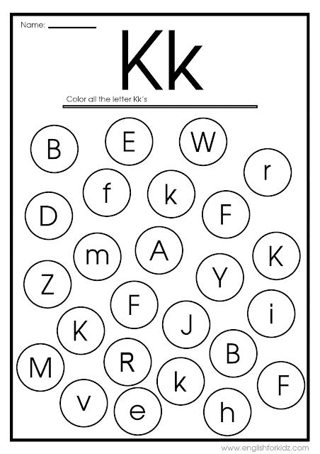 Letter K Worksheets Flash Cards Coloring Pages Printable Alphabet Worksheets Lettering Letter Find
