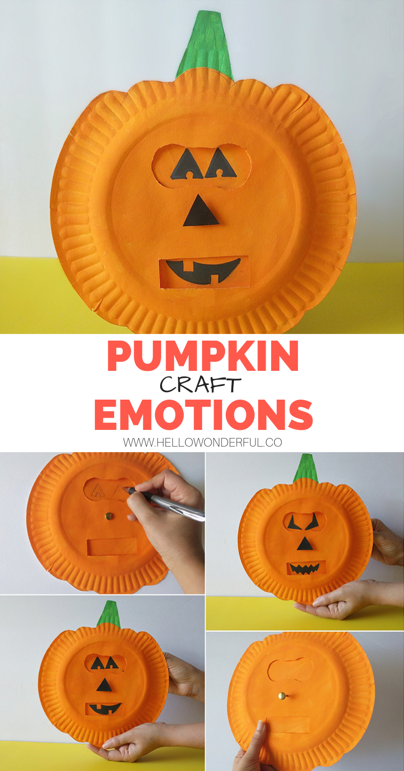 PUMPKIN EMOTIONS CRAFT #911craftsfortoddlers Pumpkin Emotions Craft. Get your kids to talk about their feelings with this fun pumpkin face changing paper plate craft! #kidscraft #kidsart #halloweencraft #pumpkincraft #pumpkinart #pumpkinactivities #911craftsfortoddlers