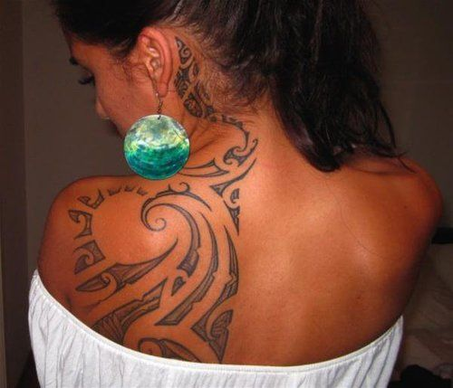 Back And Shoulder Tribal Tattoo With Wave Amp Sun Design