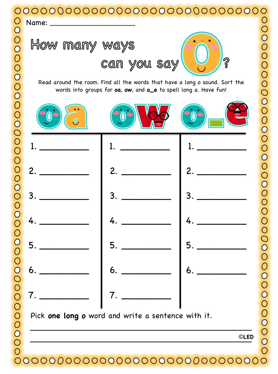 tattling to the teacher: long vowels | Centers | Pinterest