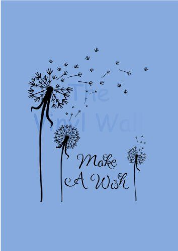 """$27.99-$68.00 Baby Make a Wish Dandelion Flower Wall Art Decor Decal Sticker Extra Large 23""""w X 30""""t - Vinyl decal stickers are a fun way to decorate any room!  This wonderful dandelion decal sticker with """"Make A Wish"""" brings nature and magic to any room.    We will e-mail you after checkout to find out your color choice!      If we do not receive a response to our e-mail within 48 hours we will shi ..."""