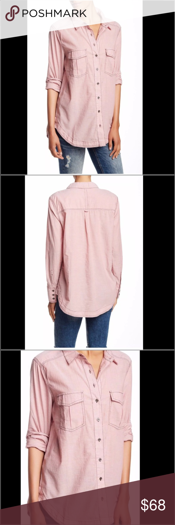 Free People LS Button Down Shirt Free People LS button down shirt.  New with tags. A soft cotton button down for casual days. Long button down top by Free People layers perfectly under a soft spring sweater. Collar. Buttons along front. Double front flap pockets. Long sleeves with button a t cuff. Shirt tail hem. Contrast stitching. Relaxed fit. We adore how the muted pastel hue adds some color to our spring layered looks. Free People Tops Button Down Shirts