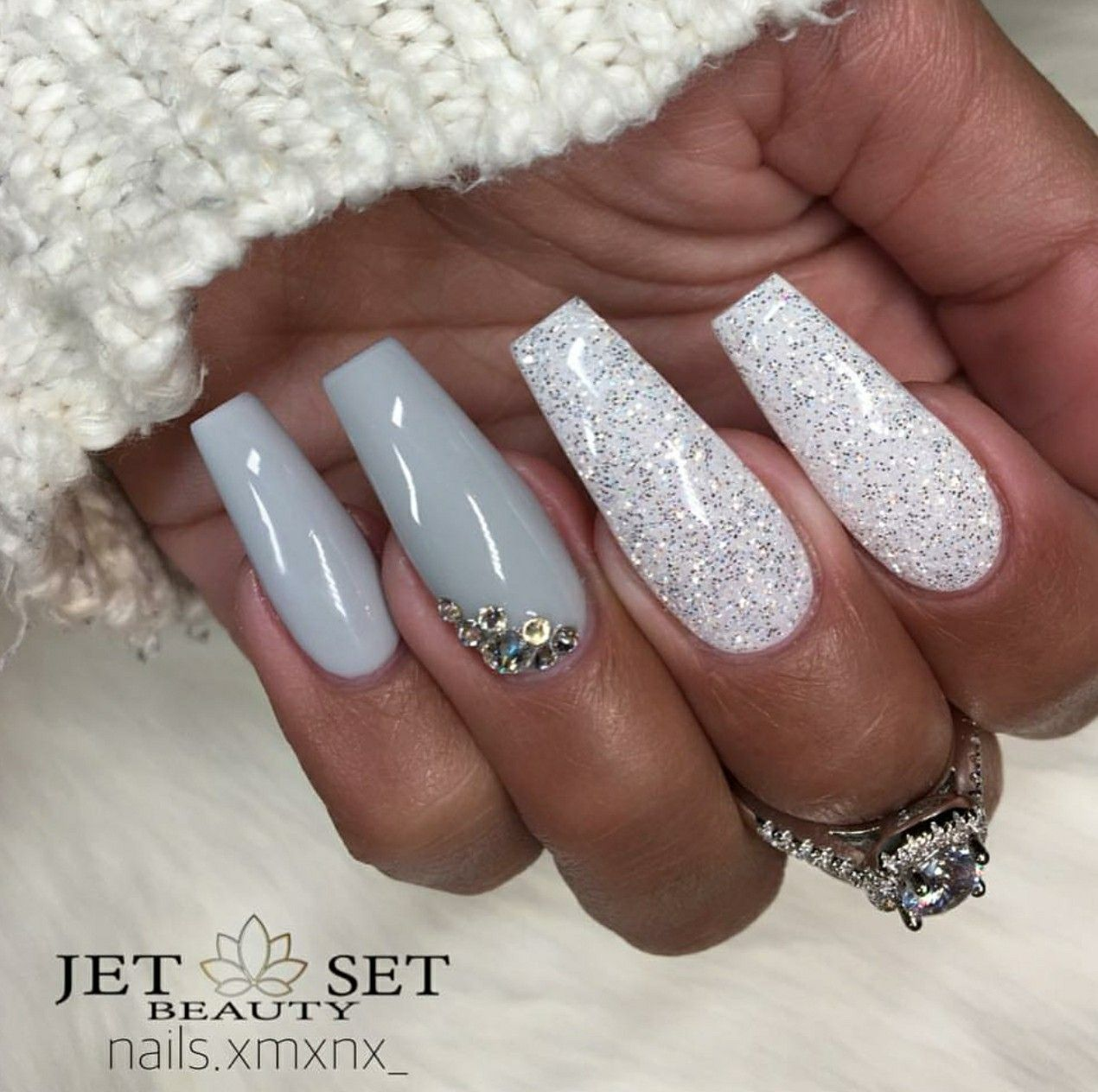 Ballerina Nails Gray And White Glitter With Rhinestones Acrylic Gel