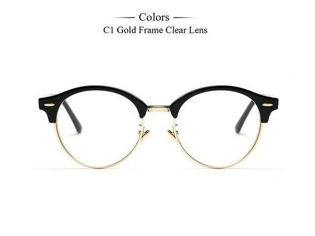 Brand Designer Semi-Rimless Glasses Vintage Round Eyeglass Frame New ...