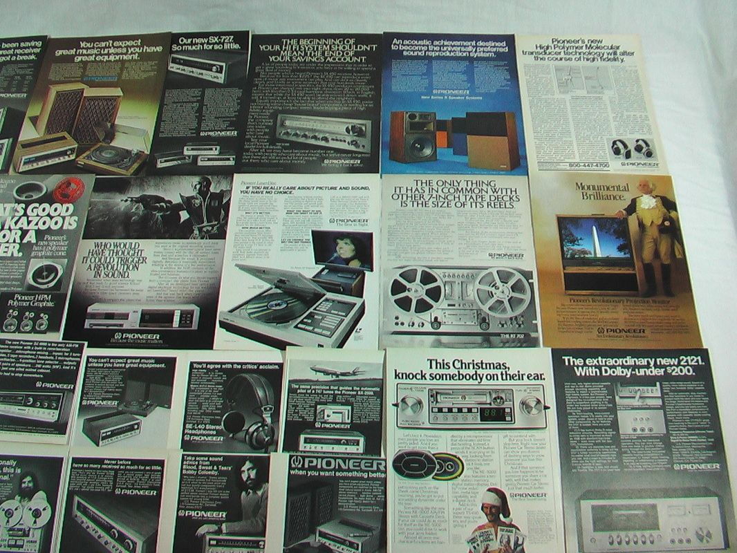 29 original Pioneer Electronics magazine ads from 1970 to 2001. The largest advertisement is approximately 8.5 x 11 inches. Each ad inconspicuously dated. No Duplicates. Photo #1 left side of collage.  Photo #2 right side of collage. Stock Number: 1614. $24.99