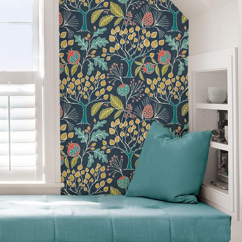 Wallpops Groovy Garden Navy Peel And Stick Contemporary Wallpaper Nu3038 Nuwallpaper Peel And Stick Wallpaper Wallpaper Roll