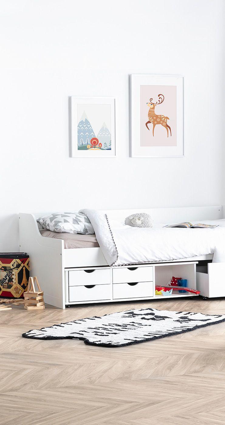 Lit Enfant A Tiroirs 90x190 Blanc Cleo Miliboo En 2020 Lit Enfant Meuble Design Mobilier De Salon