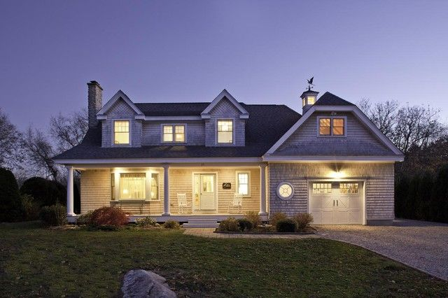 Front exterior at dusk traditional exterior boston for Cape cod dormer