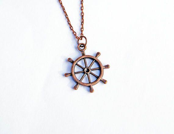 Ship Wheel Necklace, Nautical Necklace, Helm Necklace, Little Charm, Sailing Necklace, Beach Wedding