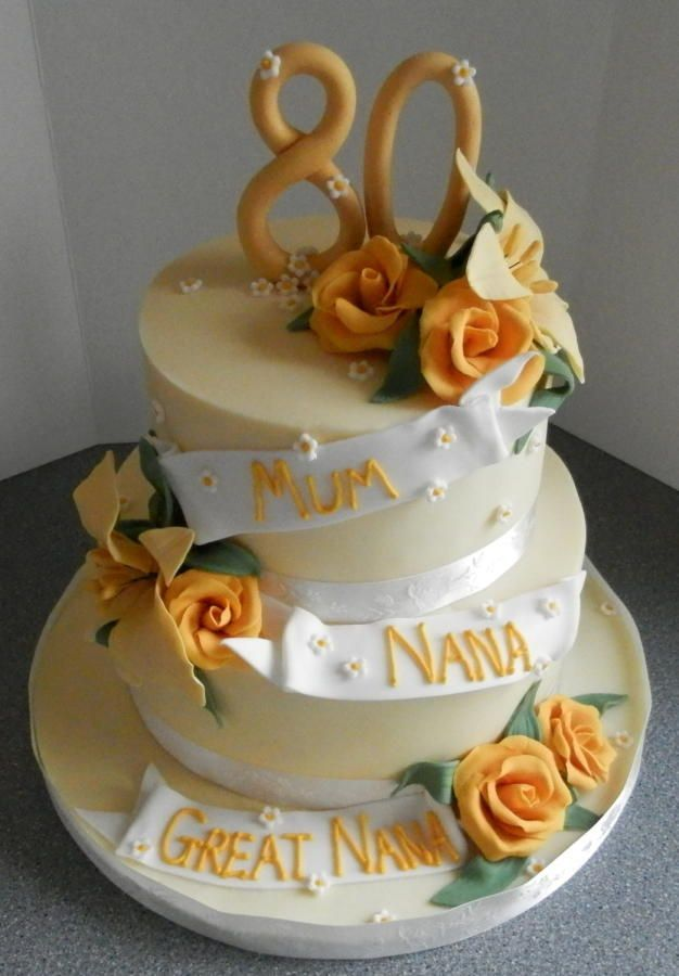 80th Birthday Cake In Yellow
