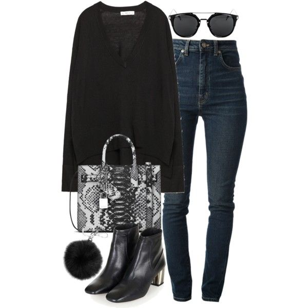 A fashion look from March 2016 featuring Zara sweaters, Yves Saint Laurent jeans and Topshop ankle booties. Browse and shop related looks.