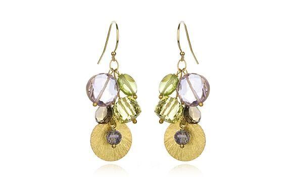 Blue Mystic, Lemon Citrine and Pink Amethyst Gemstone Earrings