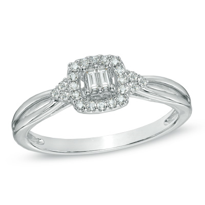 I've tagged a product on Zales: Cherished Promise Collection™ 1/6 CT. T.W. Baguette Diamond Split Shank Promise Ring in 10K White Gold