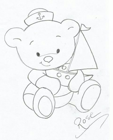 Ursinho Marinheiro Bordado Do Bebê Riscos Para Pintura