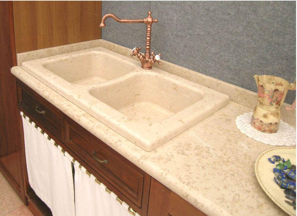 Lavello cucina in marmo giallo d\'istria a due vasche, incasso ...