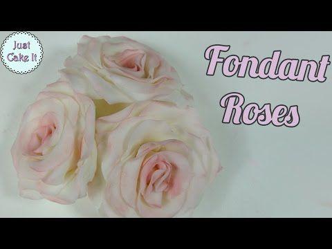Easy Fondant Roses Youtube Fondant Rose Fondant Flowers Fondant