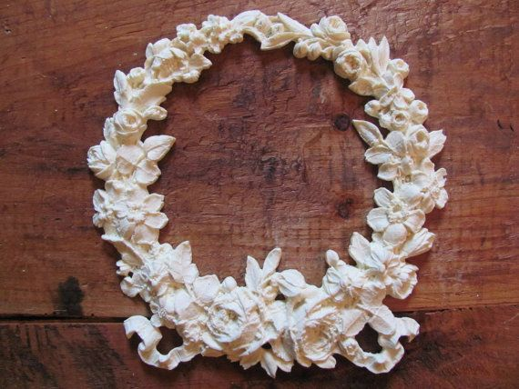Shabby chic furniture appliques rose bow wreath paintable etsy