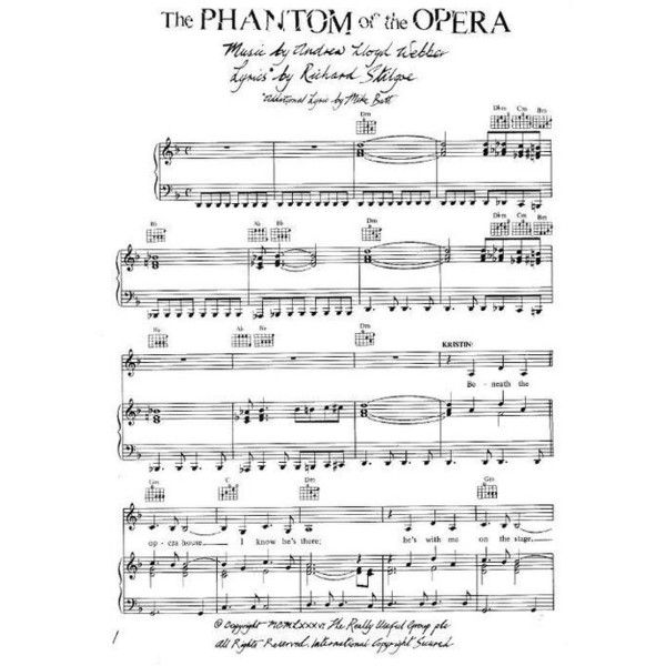 Abba Piano Sheet Music Easy: Andrew Lloyd Webber Phantom Of The Opera (Piano Sheet