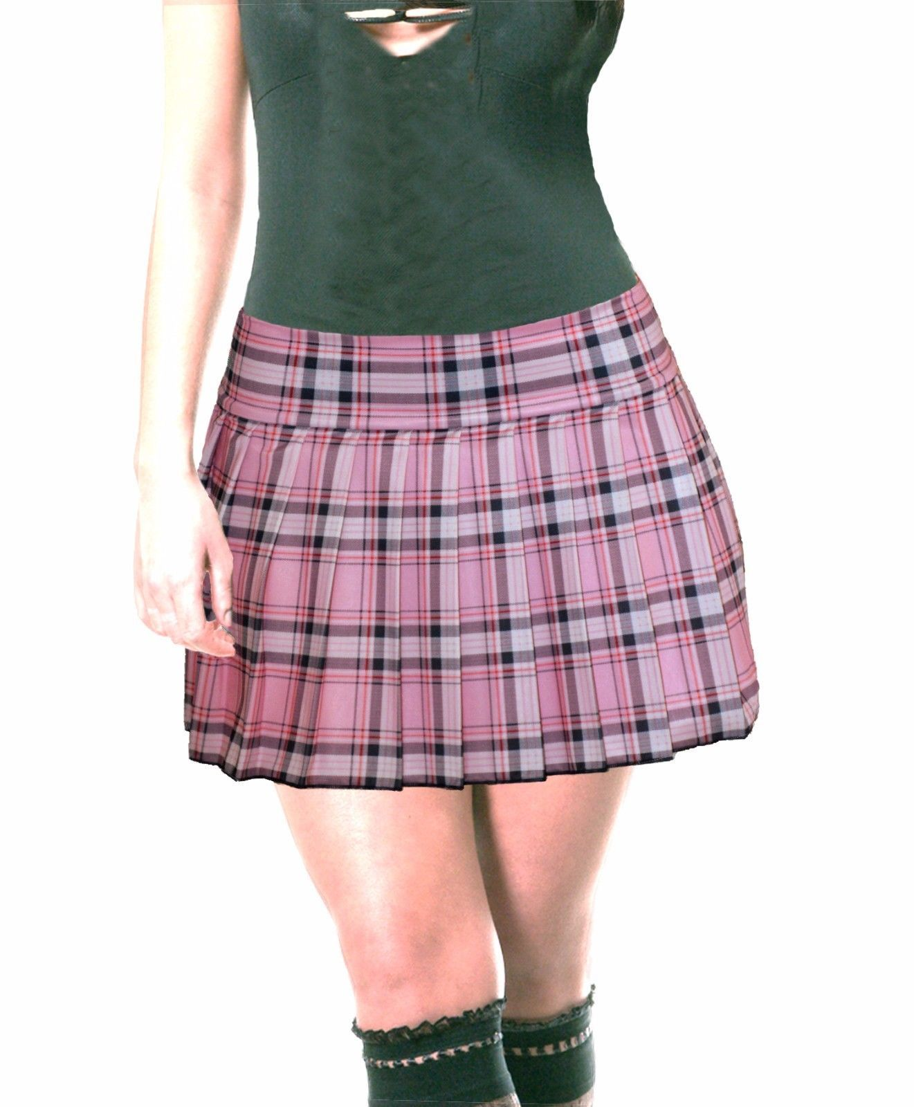 ab340015088 Plus Size Pink Stretch Lycra Schoolgirl Tartan Plaid Pleated Mini Skirt  14