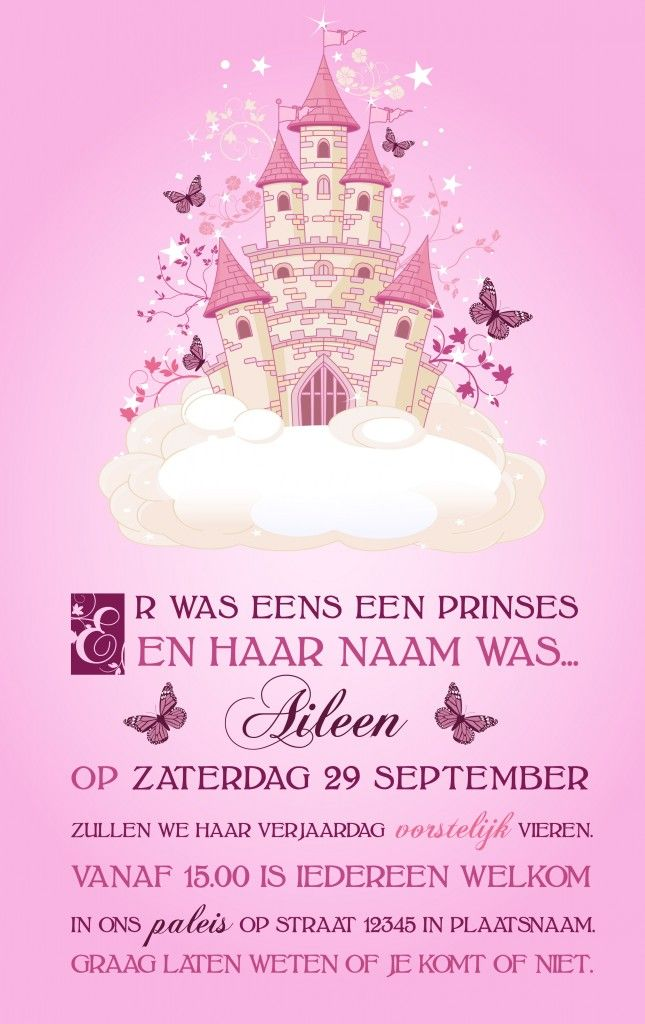 Nieuw Prinsessen uitnodiging (With images) | Bday party kids, Birthday TF-86