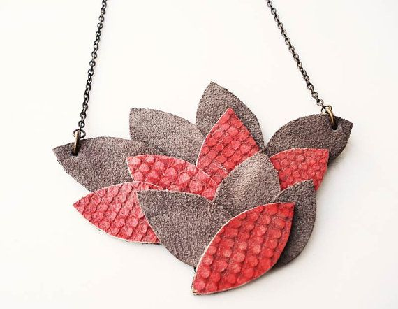 Acer unique bib necklace upcycled leather autumn fall by Joogr, €14.90