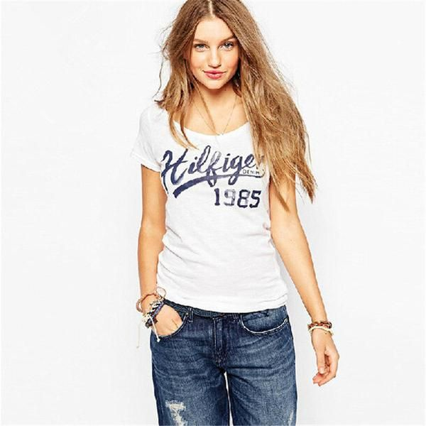 2016 New European Style T shirt Character Letter Print O-neck Short Sleeve Plus Large Size T-shirt  Women Casual Tops 60035