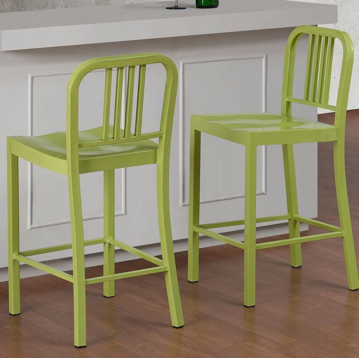 Lime Green Counter Height Stools Kitchen Breakfast Bar Dining Chairs Metal Steel