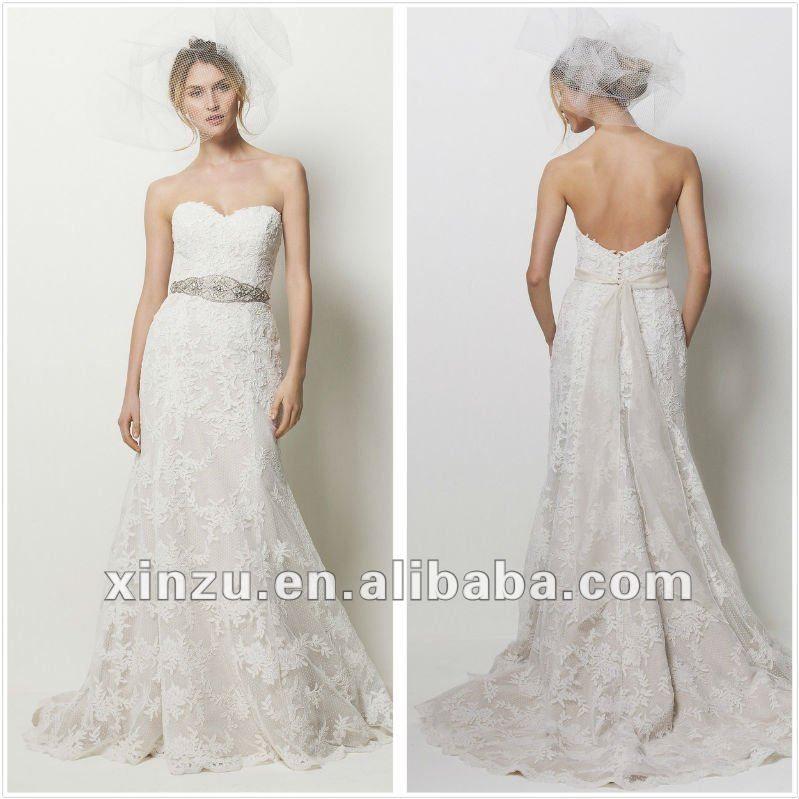 Strapless Sweetheart Lace Wedding Dress
