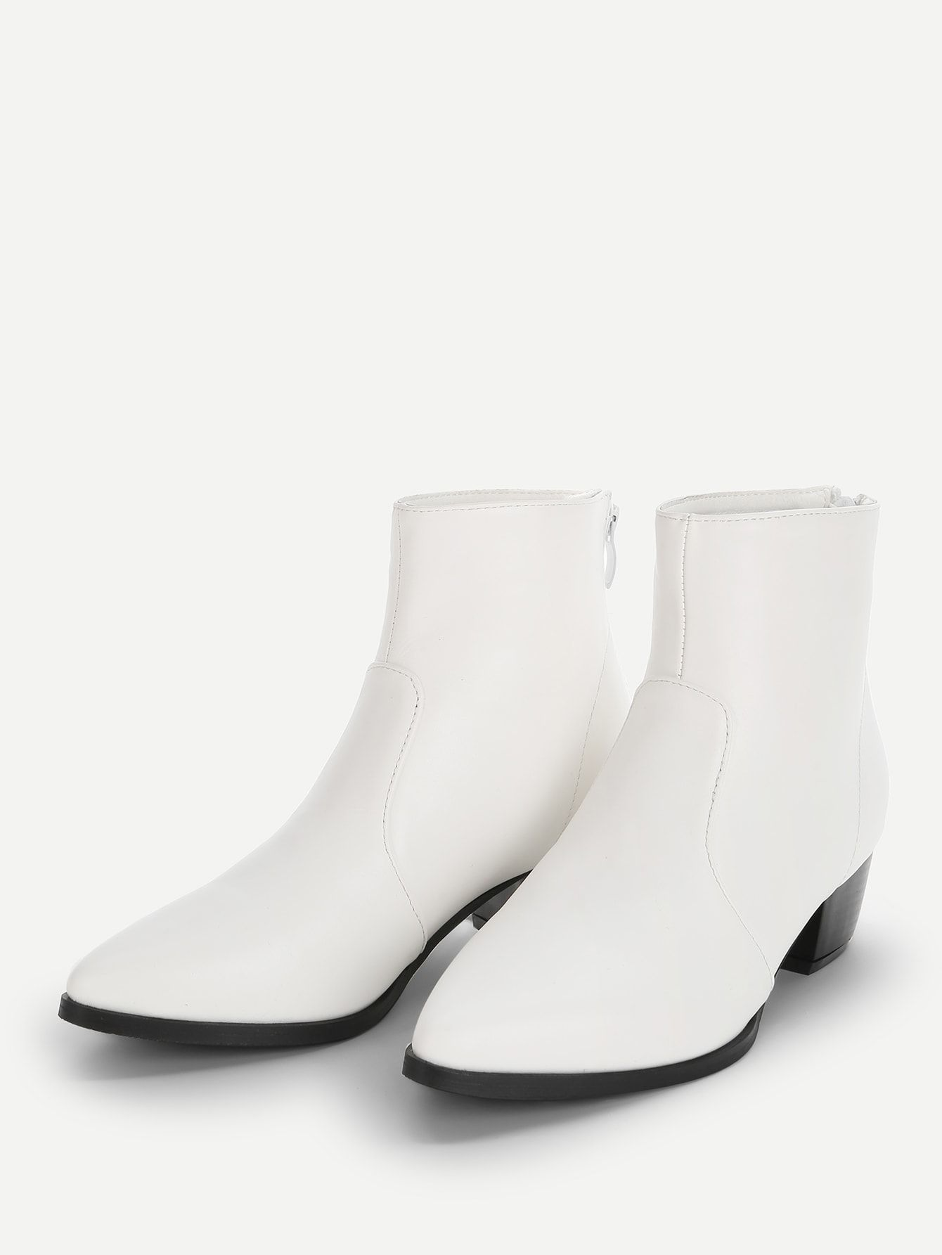 0b346afeda4 Casual Plain Ankle Back zipper White Low Heel Solid Point Toe Ankle Boots