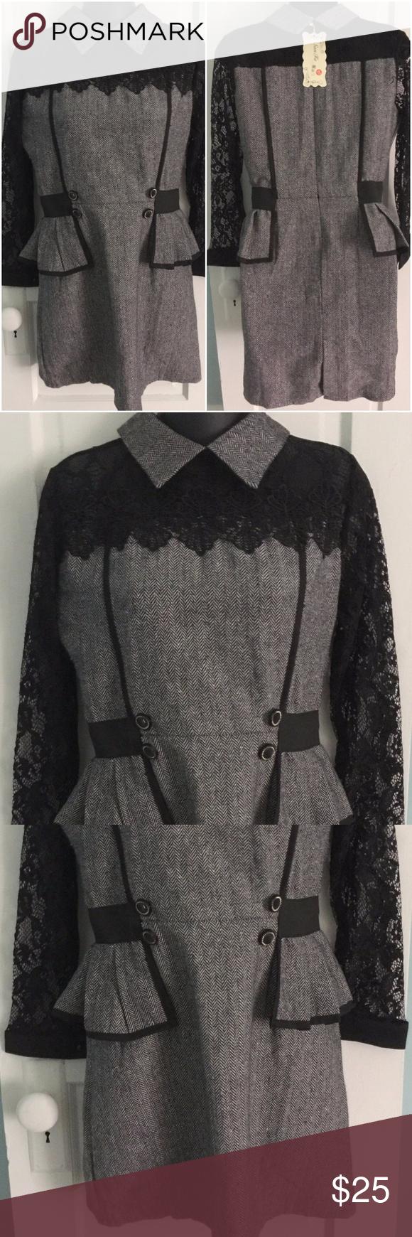 M boutique lace dress  Gray Tweed u Black Lace San Fa Fashion Dress  M Boutique  Shop