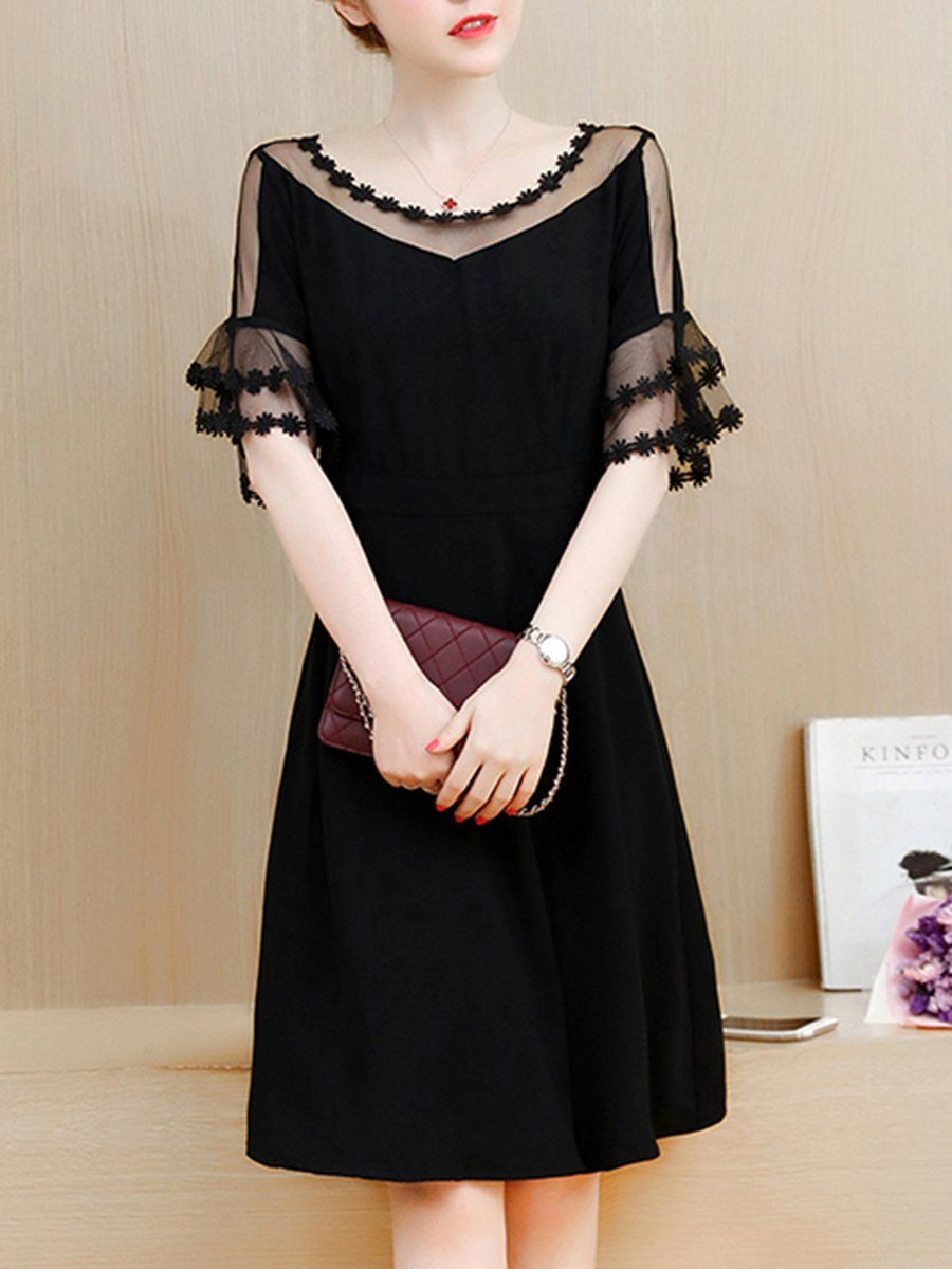 See Through Solid Bell Sleeve Skater Dress In Black