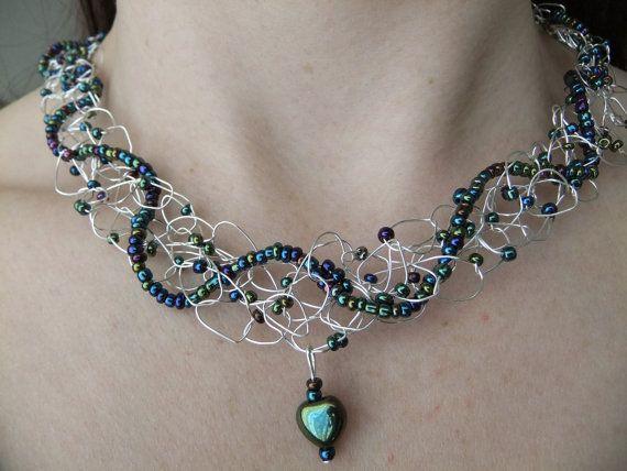 Iridescent Beaded Wire Crochet Necklace. $35.00, via Etsy.