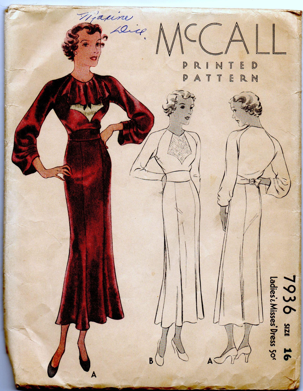 McCall 7936 | ca. 1934 Ladies' & Misses' Dress
