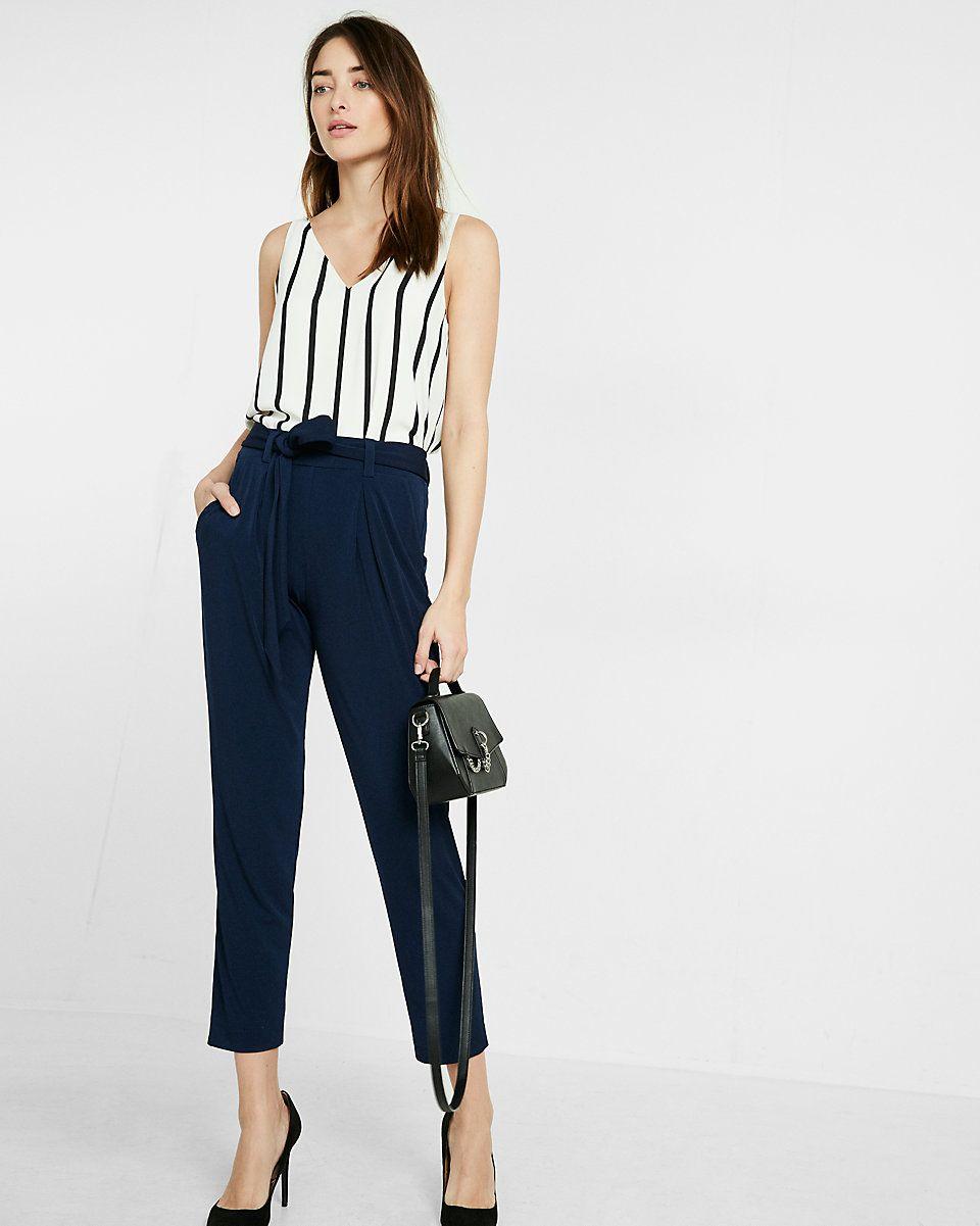 Petite Mid Rise Jersey Sash Pant