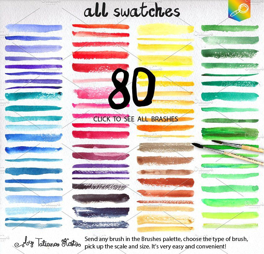 80 Watercolor Vector Brushes Ai Eps Folder Swatches Vector