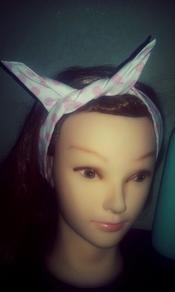 Vintage/Pin Up Style Bandana Headband. White with Pink Polka Dots