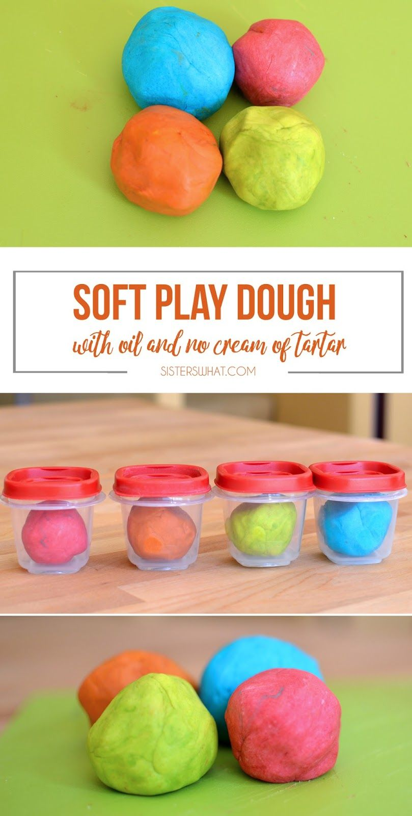 Colorful and soft Play Dough Recipe with Oil and No Cream