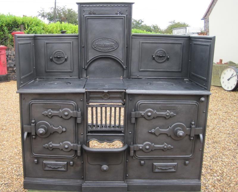 Antique Reclaimed Victorian Cast Iron Kitchen Range