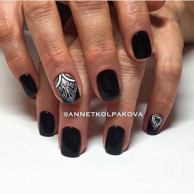 Beautiful nails 2017, Black nails ideas, Black nails with a picture, Ethnic  nails - Nail Art #2913 - Best Nail Art Designs Gallery Short Nails, Nail