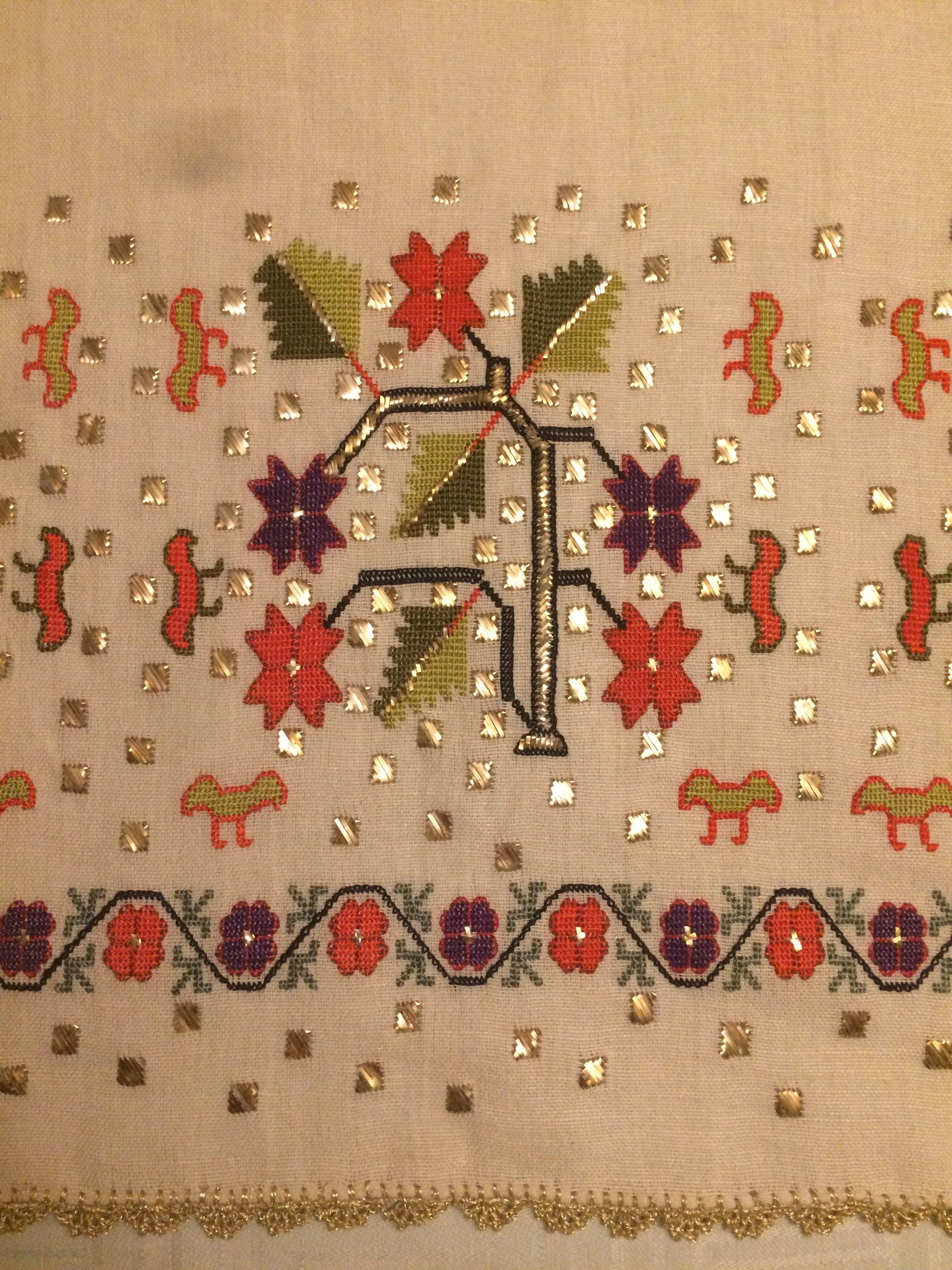 Kendi Çalışmalarım. Yağlık Hesap işi ,koton kumaş üzerine ipek iplik ve gümüş tel ile işlendi ...