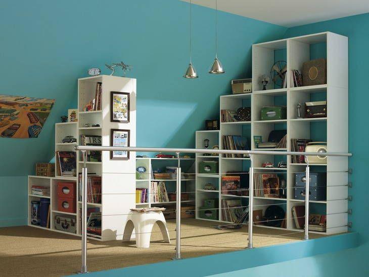 Mezzanine, coin bureau / lecture | travaux maison | Pinterest ...