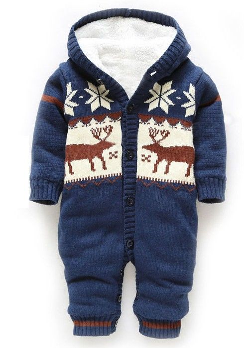 a724fb42e Baby Winter Thick Reindeer Bodysuit Fleece lined