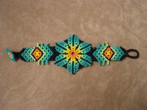 Mexican Huichol Light Blue Loom Beaded Star and Dolls necklace COM,0003 Mexican necklace , Mexican Jewelry , Huichol Necklace
