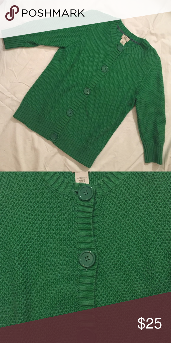 L.L. Bean cardigan Shamrock green great quality sweater with large matching green buttons. 100% cotton L.L. Bean Sweaters Cardigans