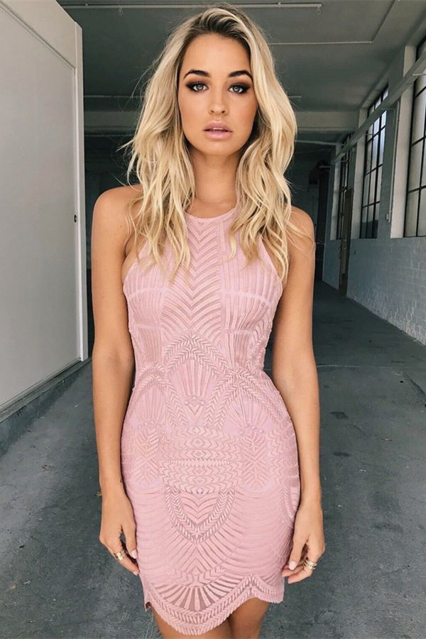 Sheath Jewel Short Pink Sleevless Lace Homecoming Dress | Jovani y ...