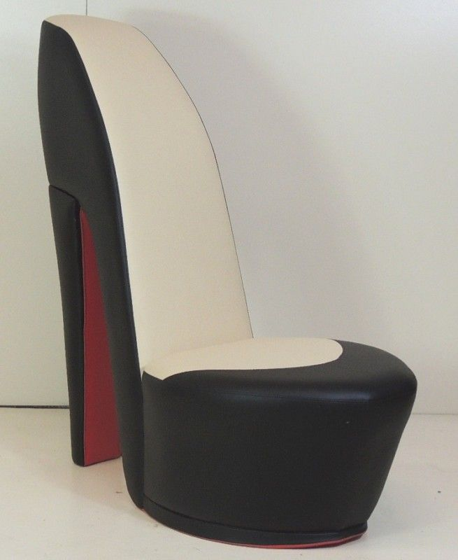 Black Cream Shoe High Heel Stiletto Chair With Red