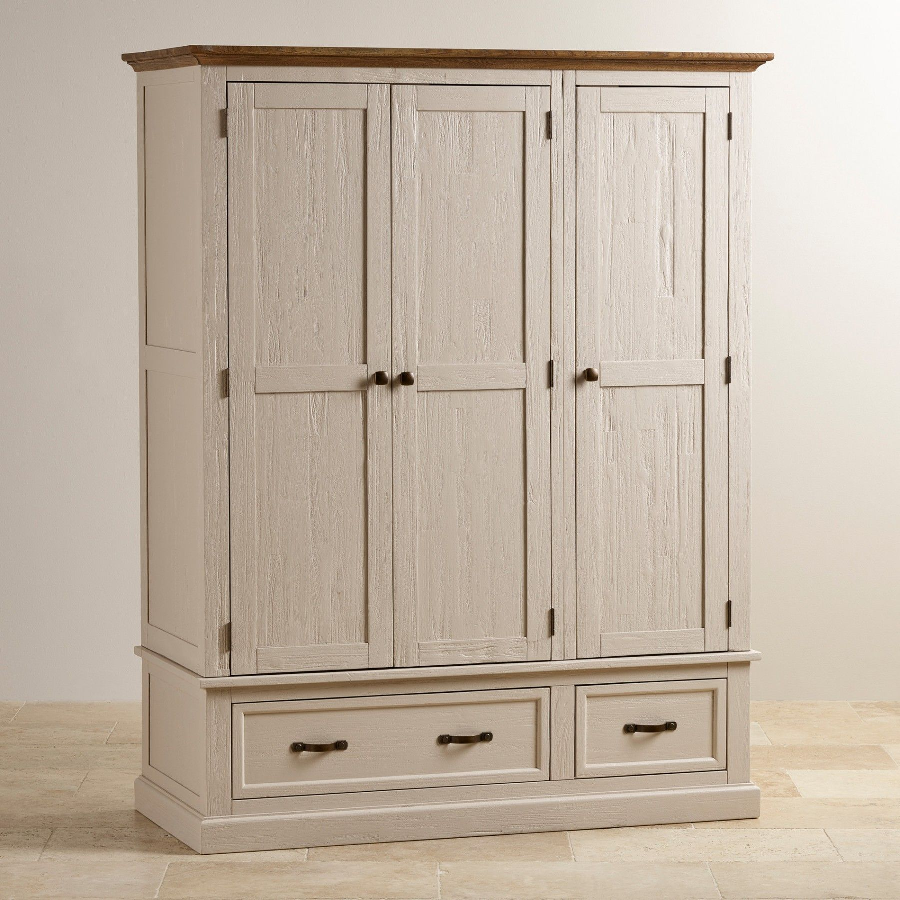 Seychelles Painted And Brushed Solid Oak Large Armoire Armoire Painted Armoire Solid Wood Wardrobes