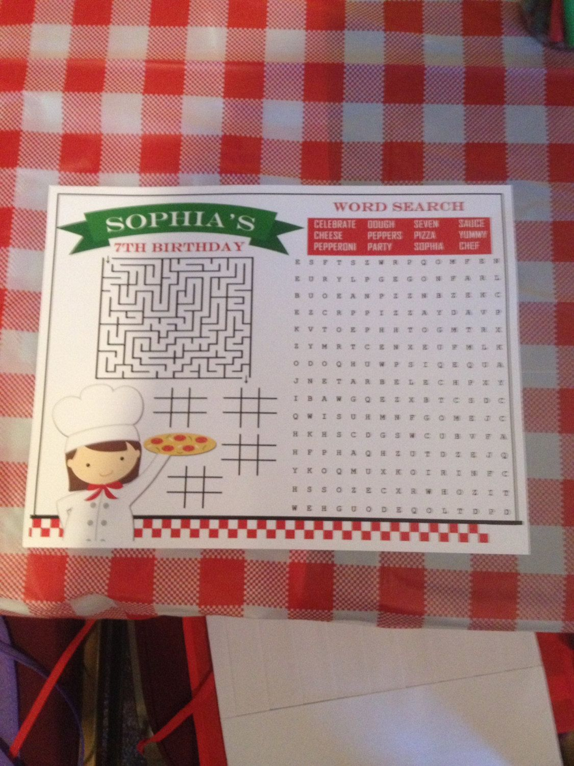 Girl's Pizza Party Game Placemat Printable You by